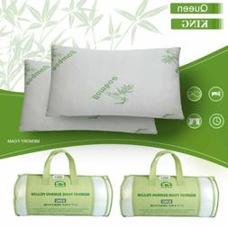 1- 2 Pack Hotel Home Bedroom Bamboo Memory Foam Pillow Hypoa