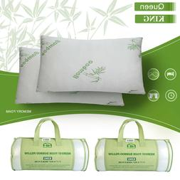 1 2 pcs Bamboo Memory Foam Bed Pillow Queen/King Size Hypoal