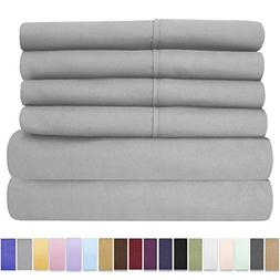 Queen Sheets Silver - 6 Piece 1500 Thread Count Fine Brushed