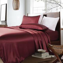 3-PC Maroon Bridal Satin Silky Sheet Set Queen/King Size Fit