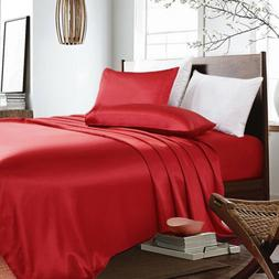 3-PC Red Bridal Satin Silky Sheet Set Queen/King Size Fitted