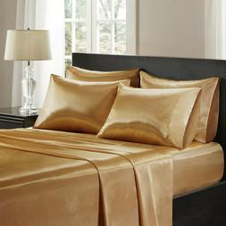 3 Pieces Satin Silky Gold  Sheet Set Queen/King Size Fitted