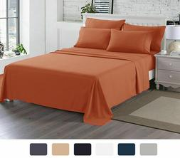 4 Piece Sheet Set Flat Fitted Pillow Cases  1500 Series At L
