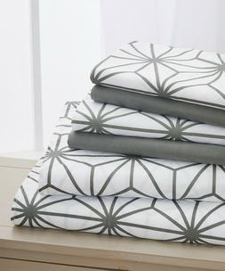 Elegant Comfort 6-Piece Cube Pattern Bed Sheet Set