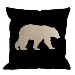 HGOD DESIGNS Bear Pillow Cover,Black Background Bear Throw P