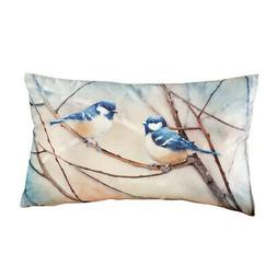 Collections Etc Bird Pillow with Resting Blue Chickadees