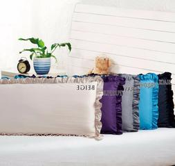 """Body Pillow Ruffled Solid Cover Case Decorative 20""""x54""""+2"""