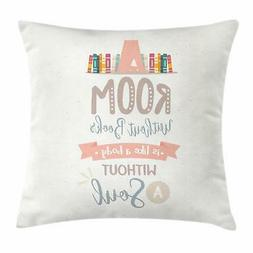 Book Throw Pillow Cases Cushion Covers by Ambesonne Home Acc