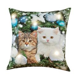 Collections Etc Cats Led Lighted Pillow
