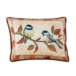 Collections Etc Chickadees on Branch Accent Pillow