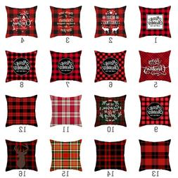 Christmas Red plaid Throw Pillow Cases Polyester  Home Decor