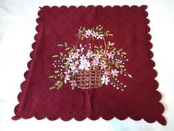 Collections Etc Burgundy Ribbon Floral Basket Pillow Cover 1