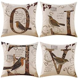 MIULEE Pack of 4 Decorative Birds'LOVE Outdoor Pillow Cover