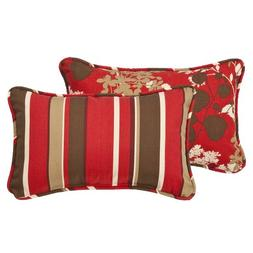 Pillow Perfect Decorative Red/Brown Floral/Striped Toss Pill