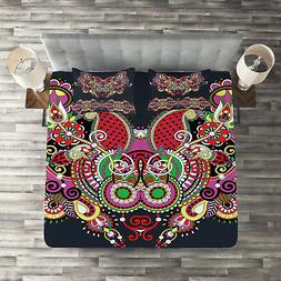 Ethnic Quilted Coverlet & Pillow Shams Set, Ornate Paisley F