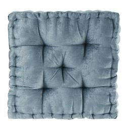 Floor Pillow Square Pouf Chenille Tufted with Scalloped Edge