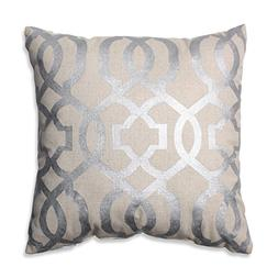 Pillow Perfect Geometric Throw Pillow, 16.5-Inch, Silver/Lin
