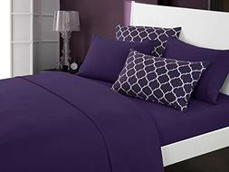 Chic Home Illusion 4 Piece Sheet Set Super Soft Solid Color