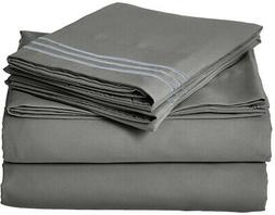 King Size Bed Sheet Set Fitted Flat Bedding Pillow Case Gray