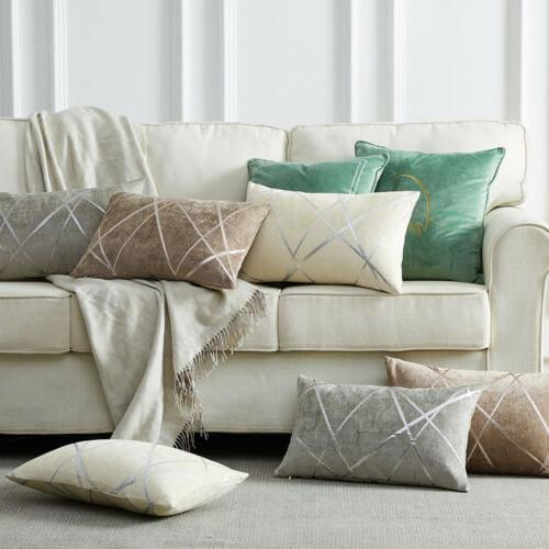 1/2 Reversible Chenille Jacquard Pillowcase Throw Sofa Couch