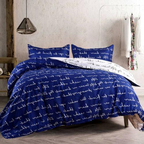 3Pcs Duvet Printed Soft Comforter Cover w/ Queen King