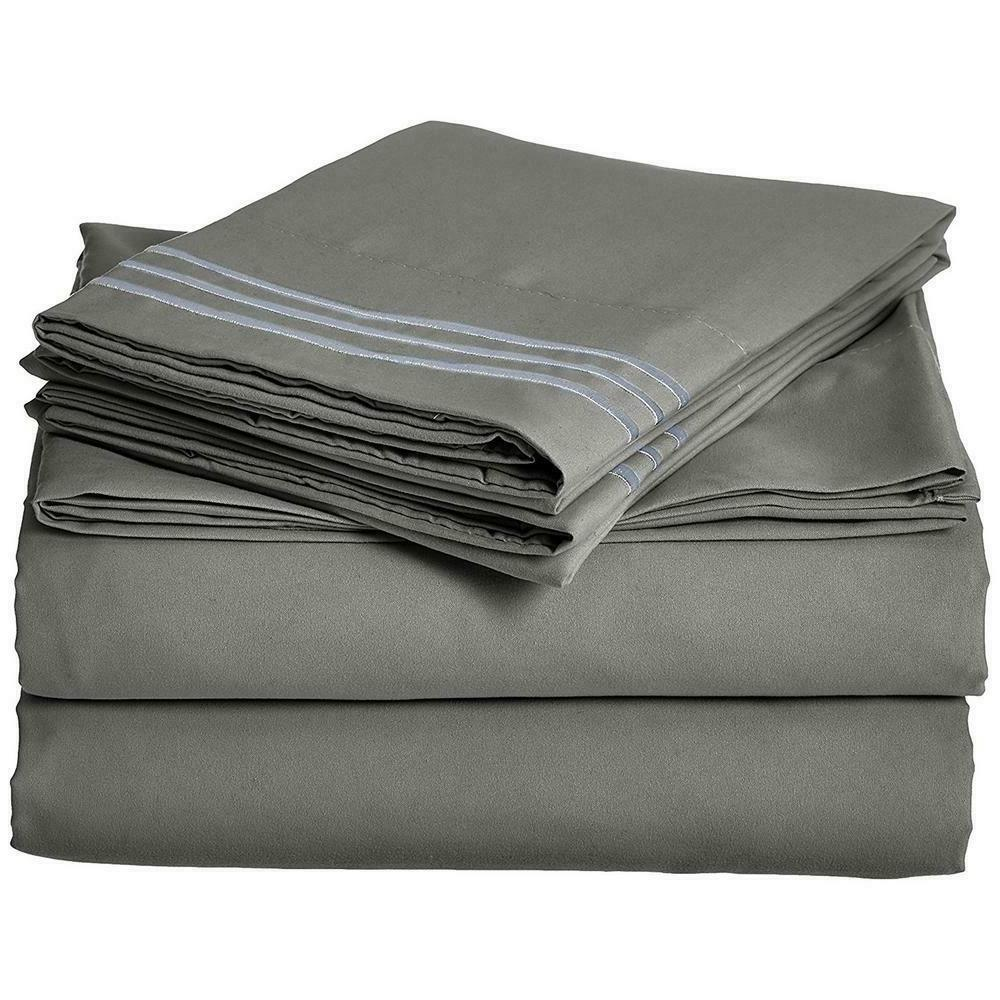 4 Pc Gray Triple Marrow Embroidered Pillow Case Microfiber K