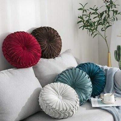 Velvet Pleated Round Pumpkin Pillow Couch Cushion Pillow Hom