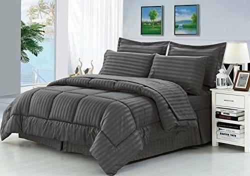 8 Piece Wrinkle Resistant Silky Soft Dobby Stripe Bed in a B