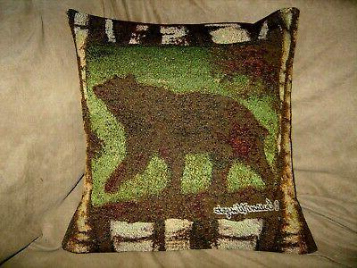 bear tapestry pillow cover signed by artist