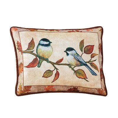 chickadees on branch accent pillow