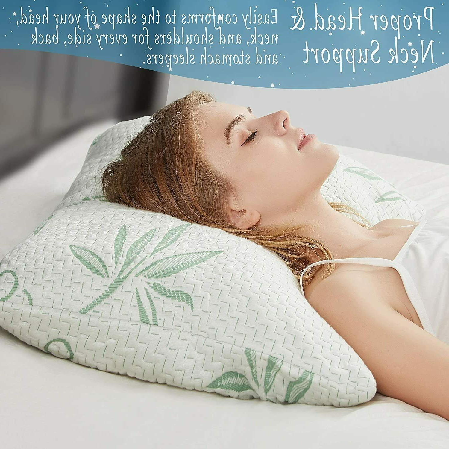 Cool Bamboo Pillow 2 Pack Adjustable Shredded Memory Queen