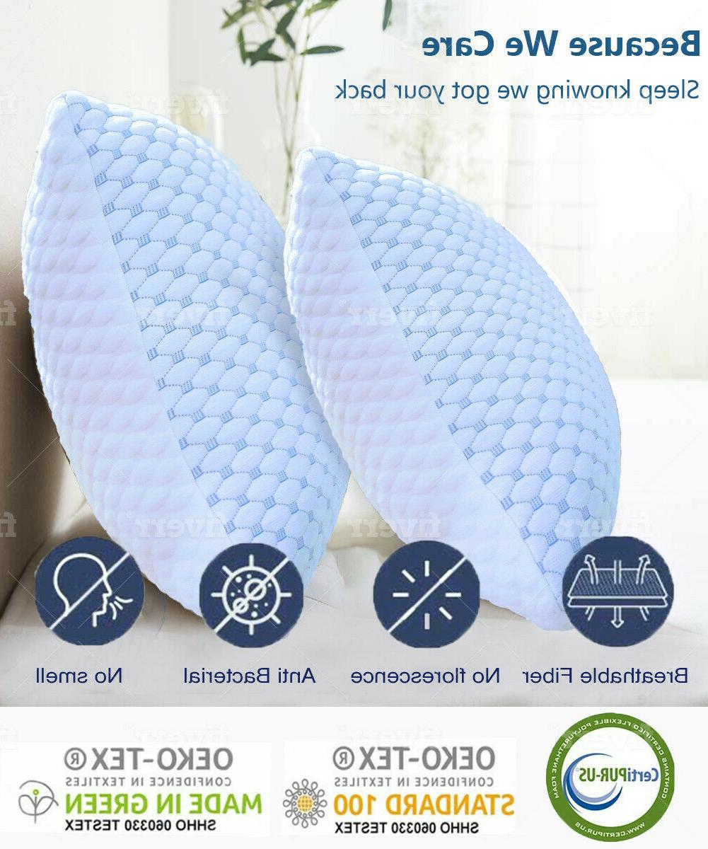 🥇Cooling Memory Foam Pillow Ventilated Soft Bed Pillow In
