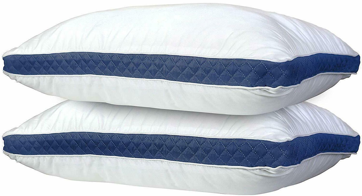 Gusseted Pillow Set of 2 Bed Pillows Neck Support Side & Bac