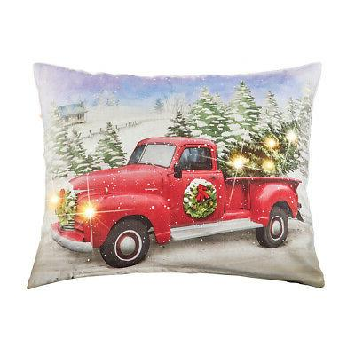 red truck lighted holiday throw pillow