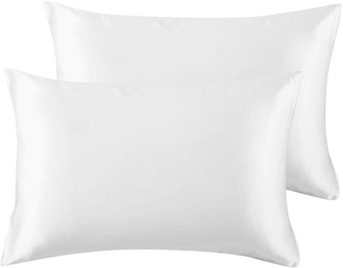 Bedsure Satin King Size Pillow Cases Set of 2, White, 20x40