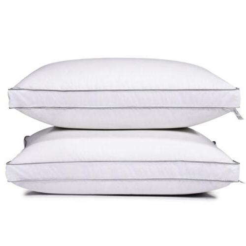 Feather Goose Down Bed Pillow Set of 2 Pillows Bedding Set Q