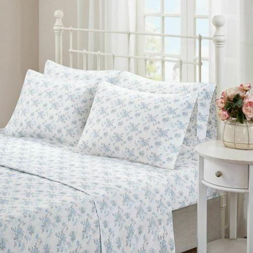 Shabby & Chic Blue White Floral Cotton Sheet Set AND Extra P