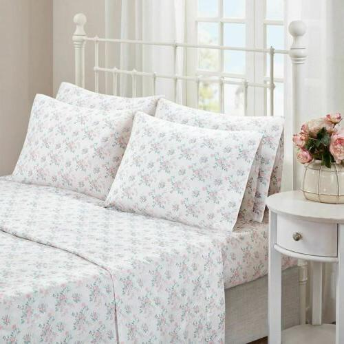 Shabby/Chic Pink & White Floral Cotton Sheet Set AND Extra P