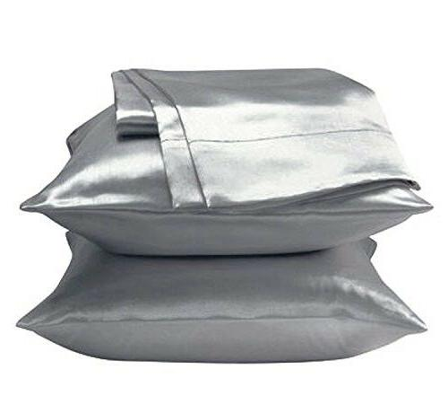 Silky Satin Pillow Cases Protector Cover King Size Silver 35