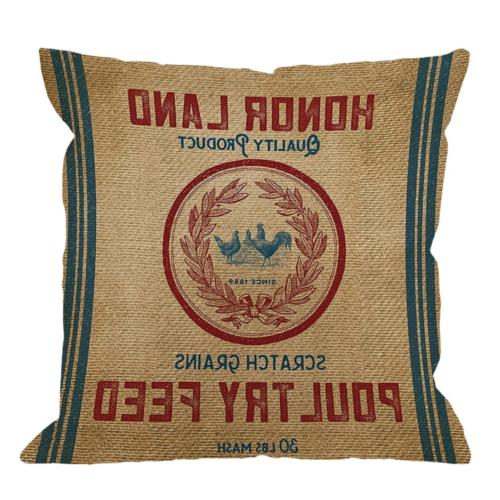 HGOD DESIGNS Throw Pillow Case Vintage Burlap Poultry Feed S
