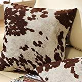 Throw Pillows for Couch Set of 2 Faux Cowhide Print Western