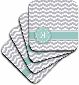3dRose Letter K Monogrammed on Grey and White Chevron Coster