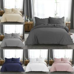 Microfiber Duvet Cover Set with Pillow Shams Twin Queen King