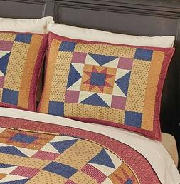 Lot Geometric Star Patchwork Quilted Pillow Sham 2 Standard