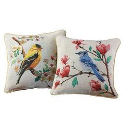 Collections Etc Lovely Bird Accent Pillow Covers - Set of 2
