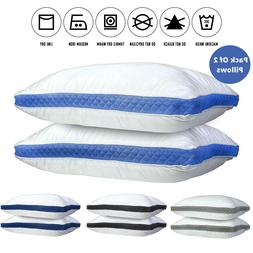 Pillows Pack of 2 Gusseted Bed Sleeping Pillow Down Alternat