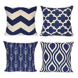 FanHomcy Navy Blue Geometrict Throw Pillows Cases for Couch