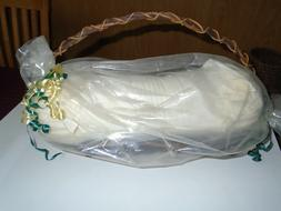 Neck Roll Pillow In Basket by Collections Etc. Vintage Unuse