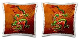 3dRose Oriental Dragon in Flaming Oranges Reds and Greens-Pi