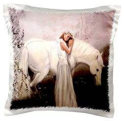 """3dRose pc_872_1 Girl with Unicorn-Pillow Case, 16 by 16"""""""